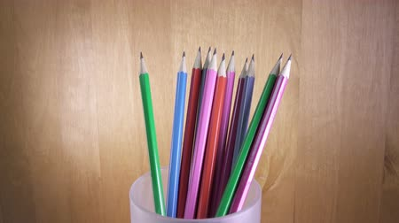 ołówek : black lead pencils with bright coloring of wooden Wideo