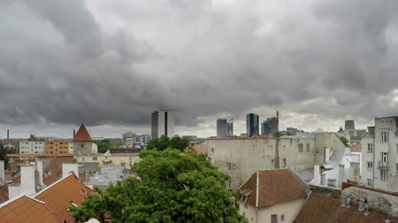 балтийский : View from a house dormer-window in the old city to Tallinn, Estonia