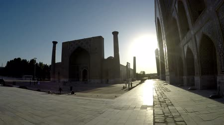 silk road : Samarkand inUzbekistan Registan Square during sunset
