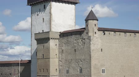 estonya : fortress Narva and Ivangorod Fortress on the border of Estonia and Russia