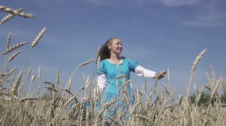 rotates : happy young slender woman with a long fair hair in a blue dress rotates in the field of ripe wheat in summer sunny day.Slow motion