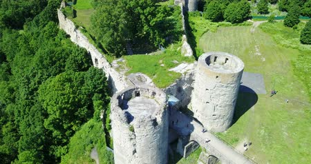 relics : Aerial view from drone ancient destroyed fortress. Koporye. St. Petersburg. Russia