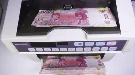 cash machine : Electronic money counter machine is counting Mauritius rupees