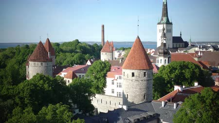 cobbles : City panorama from an observation deck of Old city spikes of churches and ancient towers. Tallinn. Estonia Stock Footage