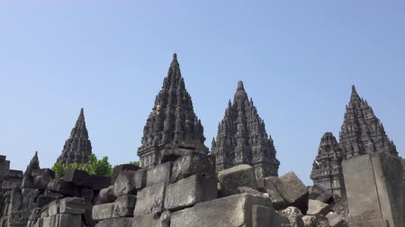 sztúpa : Candi Sewu Temple Complex of Prambanan in Central Java, Indonesia Stock mozgókép