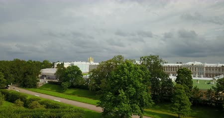 View with top from the drone on Katherines Palace hall in Tsarskoe Selo Pushkin, Russia