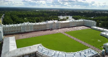 nobreza : View with top from the drone on Katherines Palace hall in Tsarskoe Selo Pushkin, Russia