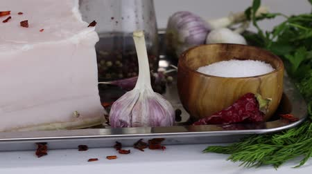 pimentas : Ingredients and items for salting pork lard, close-up
