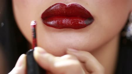 elegancia : Part of attractive woman face with fashion red lips makeup.
