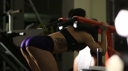 musculação : Brunette strong fitness sexy woman doing  squats in a gym