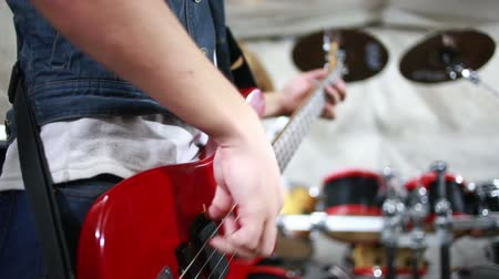 musicians stage : Rock musician playing bass Stock Footage