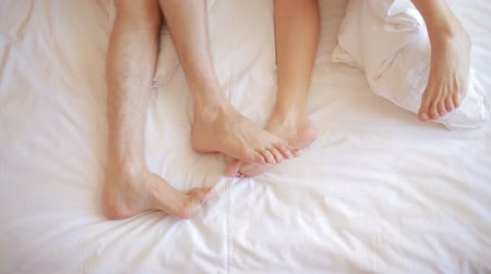 appendage : a man and a woman in bed. male and female legs top view, white linens