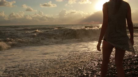 tiras : girl undresses at the sea. silhouette of a beautiful woman.