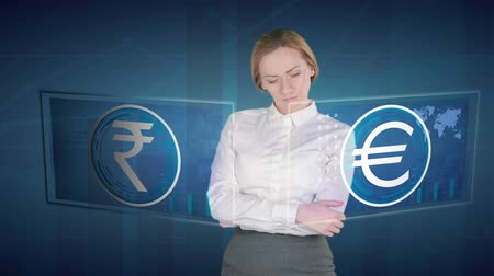 analiz : Business woman makes a financial analysis on touch screens. euro, Indian Rupee Stok Video