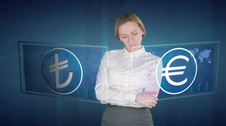 lira : Business woman makes a financial analysis on touch screens. euro, Turkish lira Stok Video