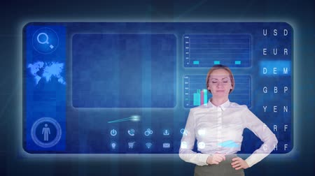 interaktif : Business woman makes a financial analysis on touch screens. Financial trading