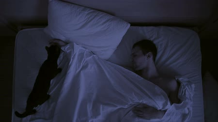 uykuda : concept of insomnia, the couple tosses in his sleep, a top view Stok Video