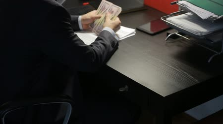 corruptible : bribery and fraud concept - close up of businessman taking money. time lapse Stock Footage