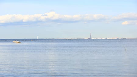 tampa bay : The view on the coast of St. Petersburg from the shore of the Peterhof. The Baltic Sea, the Gulf of Finland