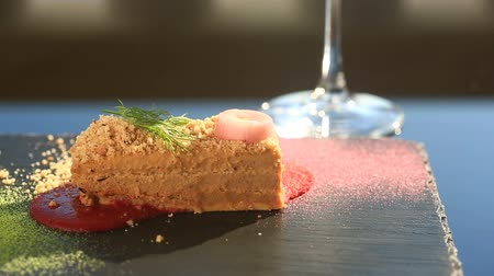 pasztet : A dish of a gourmet restaurant. close-up. Pate from duck.