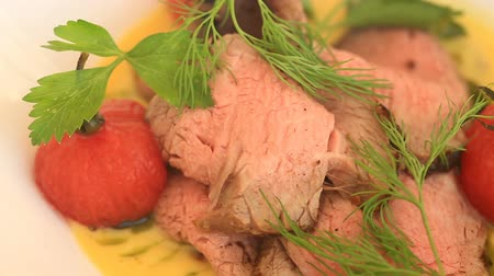 pasztet : A dish of a gourmet restaurant. Close-up. Pork with vegetables . Seaside restaurant
