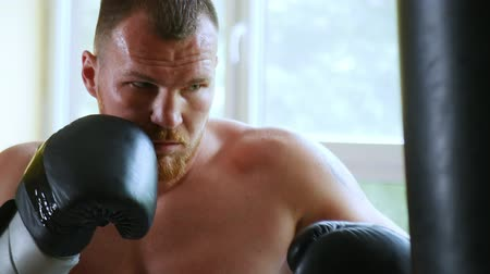 champ : a professional sportsman a boxer trains in the martial arts hall. young European man in the gym. 4k,