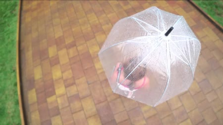bruk : View from above. 4K. Action Camera. The woman walks under a transparent umbrella on a summer rainy day. Wideo