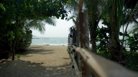 vzdálený : Bamboo pole fence on a tropical island. white sandy beach with palm-lined shore.