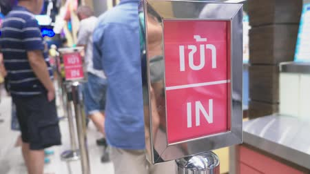 flee : Signboard signpost in the mall of Thailand, in Stock Footage