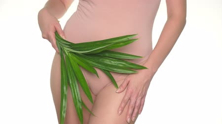 menstruáció : Woman holding fresh green leaves on lingerie background, concept of female health and body care