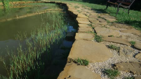 paving : landscape design concept. stone paved path along the pond Stock Footage