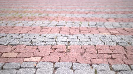 paving : close-up. The pavement of red stone. modern tile Stock Footage