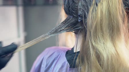 滋養物 : close-up. hair dyeing concept. hairdresser colorist dye the hair of a woman with a brush 動画素材