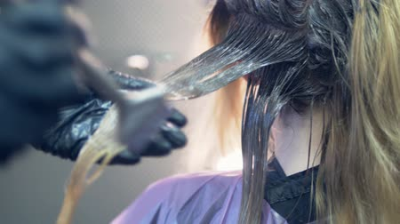 краситель : close-up. hair dyeing concept. hairdresser colorist dye the hair of a woman with a brush Стоковые видеозаписи