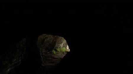 labirent : passage inside a cave with artificial lighting.
