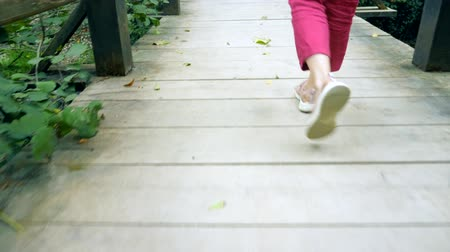 human foot : female legs in pink sneakers and burgundy trousers walk on a wooden bridge in the forest Stock Footage