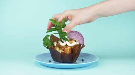muffin : Fashionable food design. onion slice put on a cream cake