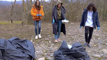 contaminação : environmental problems. a group of volunteers removes trash in the forest Vídeos