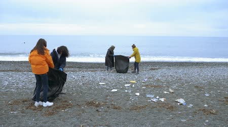 dirty beach : volunteers clean up trash on the beach in the fall. environmental issues