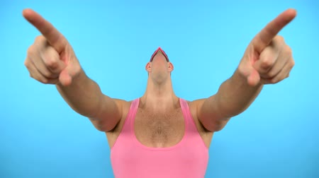 チラシ : loop video. art GIF design. Stylish freak guy in pink glasses. blue background