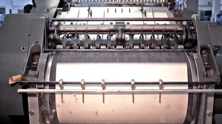 printings : Press machine.Automatic printing machine rolling paper to type. Stock Footage