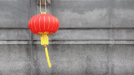 chinese lantaarn : Chinese red lantern in a Thai-Chinese temple on grey background as an upcoming Chinese new year celebrate decoration with blank side copy space.