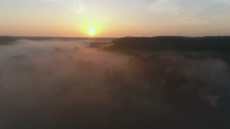 Sunrise Drone footage above the fog and river in fall