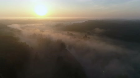 Sunrise Drone footage above the white fog and river Stok Video