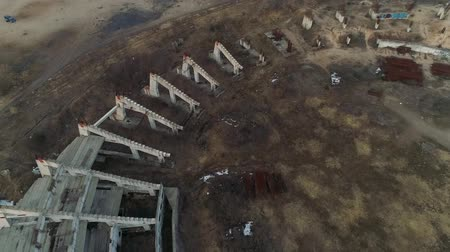 crane fly : Ruins of a large football stadium construction from bird view
