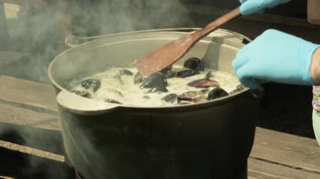 short clip : Mussels on the open fire Stock Footage
