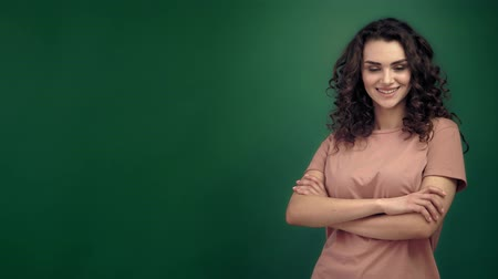 колечко : Portrait of the happy beautiful woman with brown long ringlets hair Стоковые видеозаписи