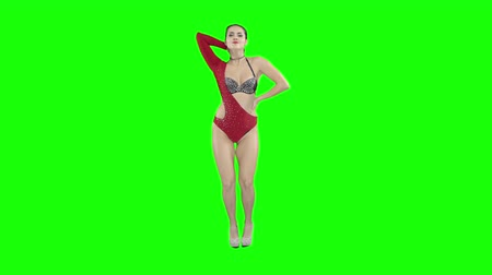 booty : A girl in a red swimsuit is dancing, on a green screen