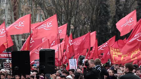 socialist republic : DONETSK - NOV 7: November 7, 2013. Ukraine, Donetsk, the central square. A meeting of the Communist Party of Ukraine which is dedicated to the anniversary of the socialist revolution. Stock Footage