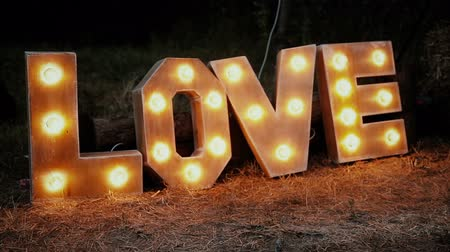 szavak : Word love consisting of the letters highlighted with bulbs standing on lawn at night.